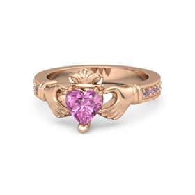 Heart Pink Sapphire 14K Rose Gold Ring with Rhodolite Garnet and Pink Tourmaline