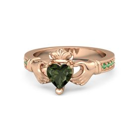 Heart Green Tourmaline 14K Rose Gold Ring with Emerald