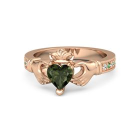 Heart Green Tourmaline 14K Rose Gold Ring with White Sapphire & Emerald
