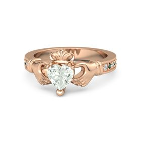 Heart Green Amethyst 14K Rose Gold Ring with White Sapphire and Alexandrite