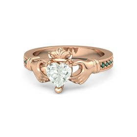 Heart Green Amethyst 14K Rose Gold Ring with Alexandrite