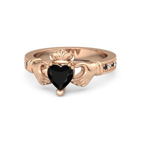 Heart Black Onyx 14K Rose Gold Ring with Black Diamond & White Sapphire