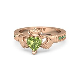Heart Peridot 14K Rose Gold Ring with Emerald and Alexandrite