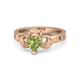 Heart Peridot 14K Rose Gold Ring with Green Tourmaline & White Sapphire