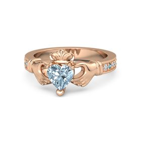 Heart Aquamarine 14K Rose Gold Ring with Diamond and London Blue Topaz