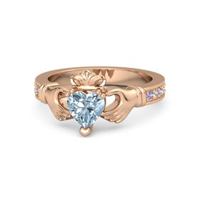 Heart Aquamarine 14K Rose Gold Ring with Iolite and White Sapphire
