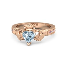 Heart Aquamarine 14K Rose Gold Ring with Pink Tourmaline and White Sapphire