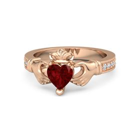 Heart Ruby 14K Rose Gold Ring with Diamond