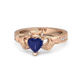 Heart Blue Sapphire 14K Rose Gold Ring with Diamond and White Sapphire