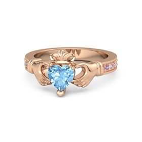 Heart Blue Topaz 14K Rose Gold Ring with Pink Tourmaline and Diamond
