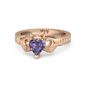 Heart Iolite 14K Rose Gold Ring with Diamond