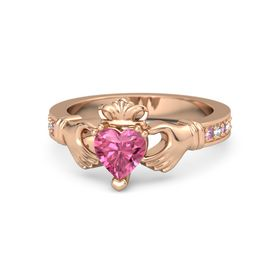 Heart Pink Tourmaline 14K Rose Gold Ring with Pink Sapphire and Aquamarine