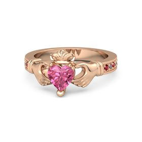 Heart Pink Tourmaline 14K Rose Gold Ring with Ruby and Rhodolite Garnet