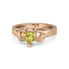 Heart Yellow Sapphire 14K Rose Gold Ring with Yellow Sapphire