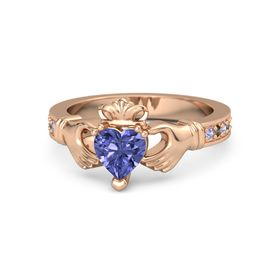 Heart Tanzanite 14K Rose Gold Ring with Tanzanite and Smoky Quartz