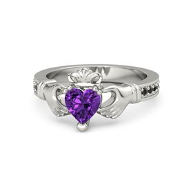 Heart Amethyst 14K White Gold Ring with Black Diamond