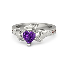 Heart Amethyst 14K White Gold Ring with White Sapphire and Red Garnet