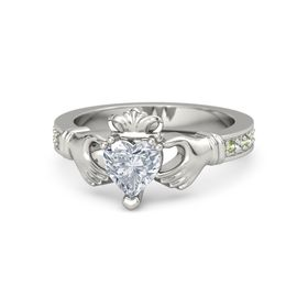 Heart Diamond 14K White Gold Ring with Peridot and White Sapphire