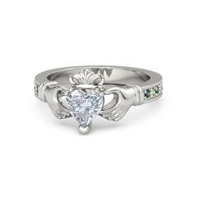 Heart Diamond 14K White Gold Ring with Alexandrite and Peridot