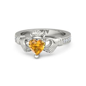 Heart Citrine 14K White Gold Ring with Diamond