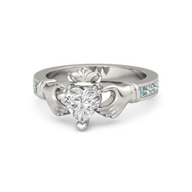 Heart White Sapphire 14K White Gold Ring with London Blue Topaz & White Sapphire