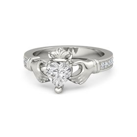 Heart White Sapphire 14K White Gold Ring with Diamond
