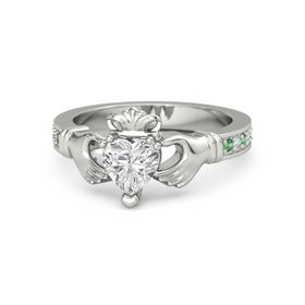 Heart White Sapphire 14K White Gold Ring with Emerald & Diamond
