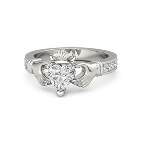 Heart White Sapphire 14K White Gold Ring with White Sapphire