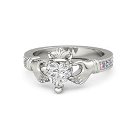 Heart White Sapphire 14K White Gold Ring with Pink Sapphire & London Blue Topaz
