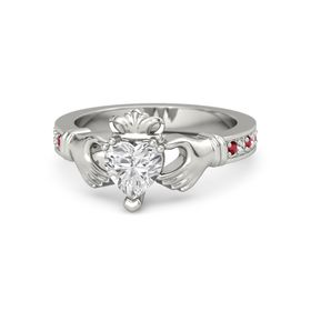 Heart White Sapphire 14K White Gold Ring with Ruby & White Sapphire