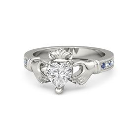 Heart White Sapphire 14K White Gold Ring with Blue Sapphire and Aquamarine