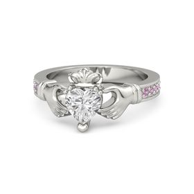 Heart White Sapphire 14K White Gold Ring with Pink Tourmaline