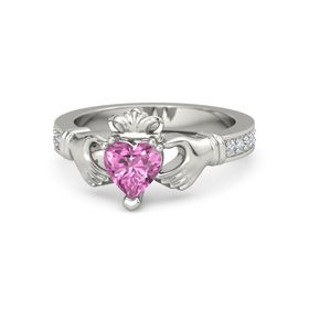 Heart Pink Sapphire 14K White Gold Ring with Diamond
