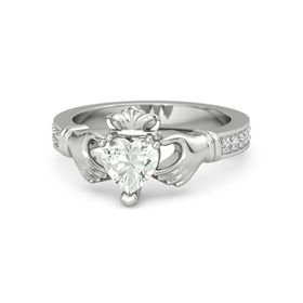 Heart Green Amethyst 14K White Gold Ring with Diamond