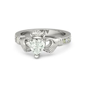 Heart Green Amethyst 14K White Gold Ring with Peridot and Diamond