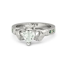 Heart Green Amethyst 14K White Gold Ring with Alexandrite and Peridot