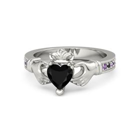 Heart Black Onyx 14K White Gold Ring with Amethyst & Black Diamond