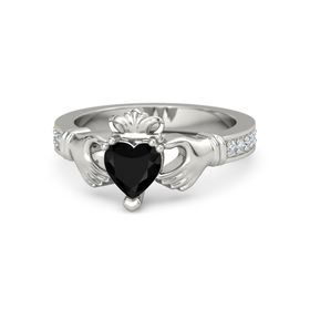 Heart Black Onyx 14K White Gold Ring with Diamond