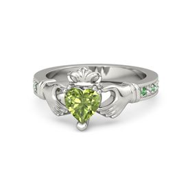 Heart Peridot 14K White Gold Ring with Emerald & White Sapphire