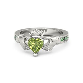 Heart Peridot 14K White Gold Ring with Emerald & Alexandrite