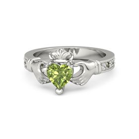 Heart Peridot 14K White Gold Ring with White Sapphire and Green Tourmaline