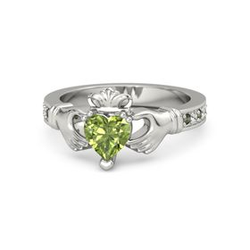 Heart Peridot 14K White Gold Ring with Green Tourmaline and White Sapphire