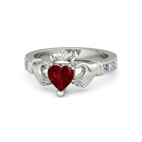 Heart Ruby 14K White Gold Ring with Amethyst & Diamond