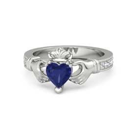Heart Blue Sapphire 14K White Gold Ring with White Sapphire and Aquamarine