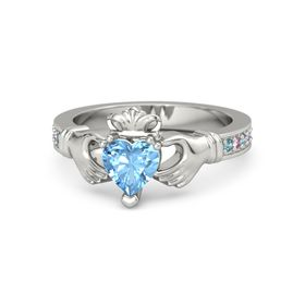 Heart Blue Topaz 14K White Gold Ring with London Blue Topaz and Pink Sapphire