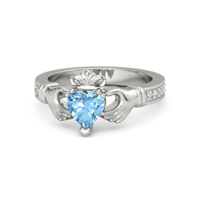 Heart Blue Topaz 14K White Gold Ring with Diamond