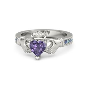 Heart Iolite 14K White Gold Ring with Blue Sapphire and London Blue Topaz
