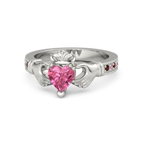 Heart Pink Tourmaline 14K White Gold Ring with Red Garnet and Pink Tourmaline