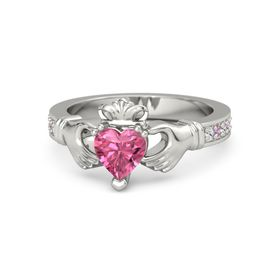 Heart Pink Tourmaline 14K White Gold Ring with White Sapphire & Pink Tourmaline