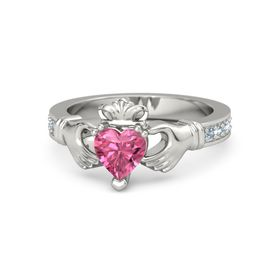 Heart Pink Tourmaline 14K White Gold Ring with Blue Topaz and Aquamarine